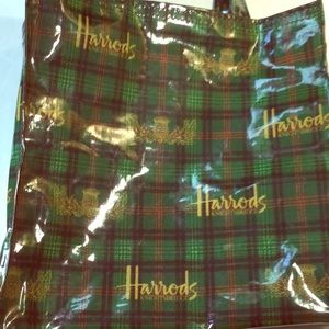 Harrods vinyl shopping tote bag